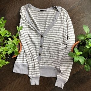 BDG white and grey striped cardigan